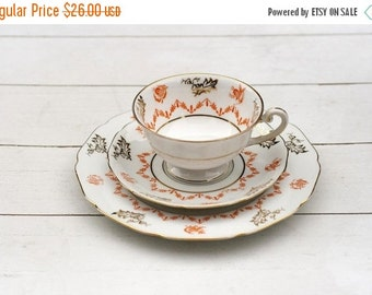 Vintage German Teacup Trio set- Ornate Chinese White and Orange by Hutschenreuther