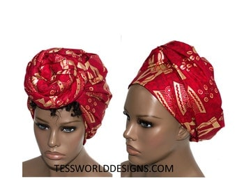 Red head wraps/ golden Stool cowrie head tie/ Fabric from Africa/ African Head wraps/ Reversible Scarves/ hair accessory/ Head scarf/ HT136