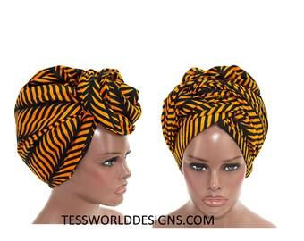 Orange Head wrap / Head wrap Scarf / Headwrap/ Head wrap Women / Head Wrap for Women /African accessory / African Head wraps/  HT142