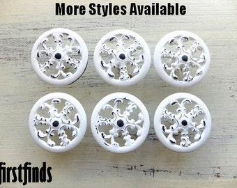 10 White Knobs Kitchen Cabinet Pulls Snowflake Filigree Painted Shabby Chic Furniture Hardware Dresser Drawer Cottage ITEM DETAILS BELOW