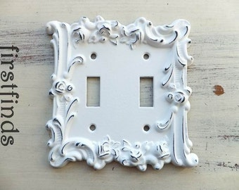 Double Light Switch Plate Cover Shabby Chic White Rose Electrical Vintage Metal Wall Cottage Decor Lite Painted Toggle ITEM DETAILS BELOW