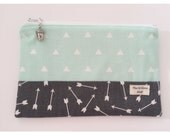 RESERVED for Ella Mint Triangles and Grey Arrows Zip Pouch with Acorn Charm