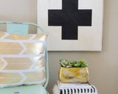 White sign black swiss army cross rustic wood sign