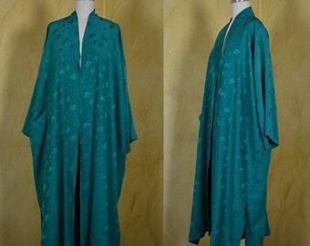 1960s Green Silk Kimono Robe Royal Crown Colony of Hong Kong
