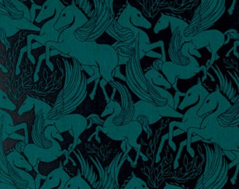Rayon Helios by Anna Maria Horner for Free Spirit Fabric - Fibs and Fables - Modern Fabric - Pegasus - Rayon Fabric Blue and Black