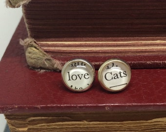 Love Cats Stud Earrings, Tiny Post Earrings, Crazy Cat Lady Jewelry, Cat Lover Gift, I Love Cats Earrings