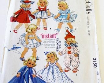 Doll Clothes Pattern - McCall's 2150 Diminutive Dolls' Instant Wardrobe UNCUT (1957) - Sewing Pattern, Doll Dress Pattern