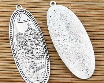 4pcs Tibetan silver plated house pattern oval charms EF2057