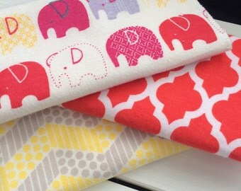 Burp Cloth Trio, Elephant Burp Cloth, Bright Coral and Yellow, Baby Burp Cloth, Wash Cloth, Shower Gift, New Baby