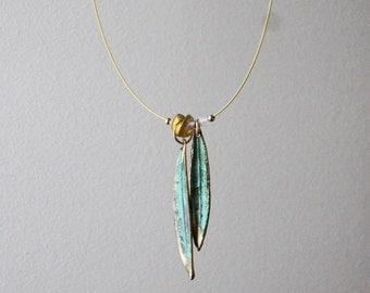 Olive leaves necklace, gold and vertigris, electroplated olive leaves necklace, real olives leaves, minimal necklace, Greek olive necklace