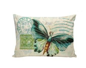 Spring Pillows, Botanical Pillows, Butterflies, Floral, 12x18, Cushion Covers, Throw Pillows, Made in USA, Cotton, Burlap,   #FR0075
