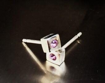 Rustic Dainty Cube Amethyst Studs,  Birthstone stud earring