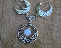Statement silver triple goddess moon necklace, wiccan jewelry, triple moon necklace, wiccan necklace, celtic opalite moon necklace jewelry