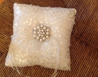 Ivory Pearl Rhinestone Brooch  Ring Bearer Pillow Brooch Ring Pillow
