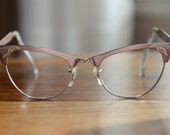 Pink Cat Eyeglasses Vintage Leaf Design Gold Filled MC 46/20 Free Priority Shipping