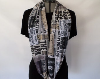 Magical Newspaper Infinity Circle Scarf