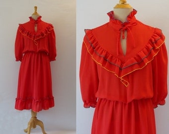 Red Ruffled Gypsy Dress
