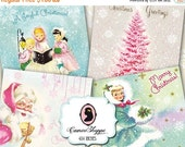 75% OFF SALE HAPPY Christmas 02 Digital Collage Sheet DIgital Tags Coasters 4x4 inches Cards Instant Download