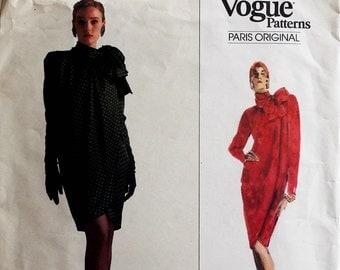 """Mock Wrap Dress by Yves Saint Laurent -1980's- Vogue Paris Original Pattern 2210  Uncut  Size 12  Bust 34"""""""