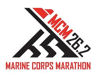 "4"" Red and Black Marine Corps Marathon Decal - MCM 26.2 Decal - Marine Corps 26.2 Marathon Decal - 26.2 Decal"