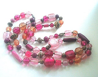 Extra Long Glass Bead Necklace Fuchsia Pink 42 Inches