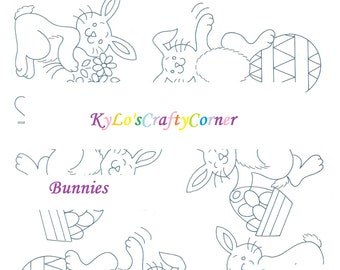 Large Image Instant Download Sheet Transfer/ Stencil /Happy Easter /Eggs/ Bunny/ Baskets