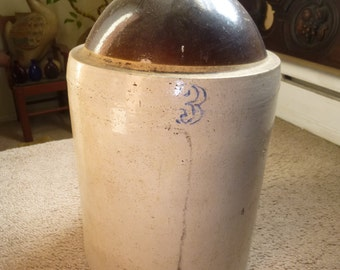 3 Gallon Brown Top Stoneware Jug with Handle - delightful display piece or moonshine ready