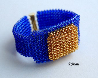 FREE SHIPPING! Blue/Gold Statement Beadwoven Seed Bead Bracelet, Beaded High Fashion Jewelry, Women's Beadwork Accessory, Gift for Her, OOAK