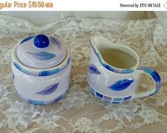 End of Summer Sale Royal Norfolk Sugar Bowl and Creamer Set, Vintage Items, White with Blue Leaf Pattern