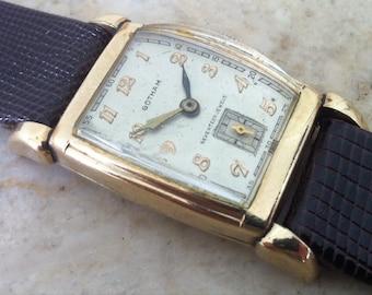 Vintage Men's Watch, Gotham Swiss, Wristwatch, 17J, Sub Seconds, Art Deco Design, 10K Gold Filled,Rectangular, Working Great, Free Shipping