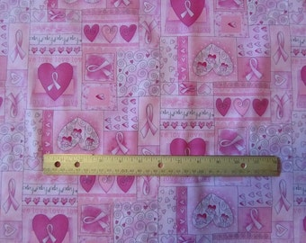 Pink Words of Encouragemant/Hearts/Ribbons Breast Cancer Awareness Cotton Fabric by the Half Yard
