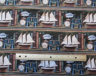 Bookcase Nautical Ships/Duck Decoy Cotton Fabric by the Yard