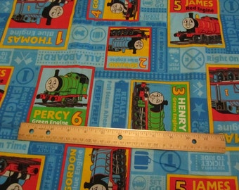 Blue Thomas Train Blocked with Multicolor Trains Cotton Fabric by the Yard