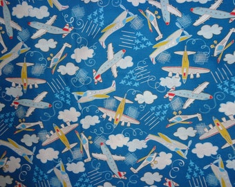 Royal Blue Airplane Cotton Fabric by the Yard