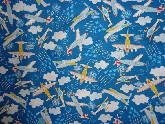 Royal blue airplane cotton fabric by the yard for Airplane fabric by the yard