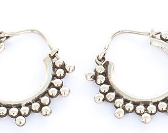 Silver Crystal Hoops (JS-E-031)