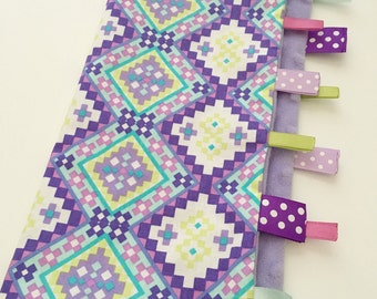 Quick Ship!...Lovey Ribbon Sensory Blanket...Purple Aztec with Minky...Can Be Personalized...No Loops