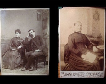 1880s Two Antique Photographs Cabinet Photos Victorian Lady and Couple