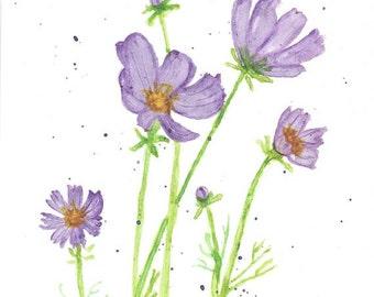 Original Watercolor Art - Abstract Purple Flowers, Botanical Nature