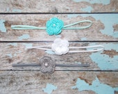 Infant Crochet Flower Skinny Elastic Headband Set/Crochet Flower Skinny Headband Set/0-3 Month Infant Crochet Flower Headband Set of 3