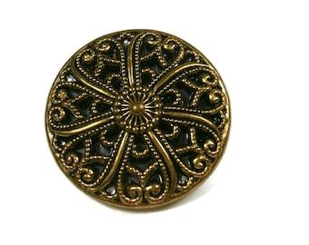 Large Twinkle Button, Mirror Back Button, Fancy Brass Filigree Vintage Button