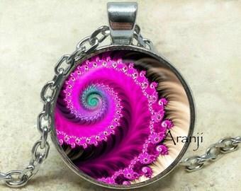 Fuchsia fractal pendant, fractal art necklace, fractal jewelry, purple spiral necklace, purple spiral, Pendant #PA167P