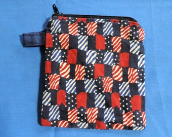"""4 1/2"""" x 5 1/4""""  USA American Flag Coin / Change Purse w/ Zipper Closure, Recreated by Carolyn, made from Upcycled/Recycled Materials"""
