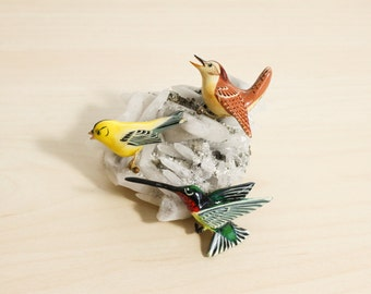 Set of 3 Takahashi Style Handmade Painted Bird Brooches Pins