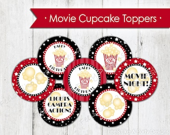 Movie Night Cupcake Toppers - Instant Download