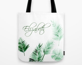 Personalized Palm Leaf Tote Bag, bridesmaid bag, personalized bag, name tote bag, tropical tote bag, palm tote bag, palm leaf tote