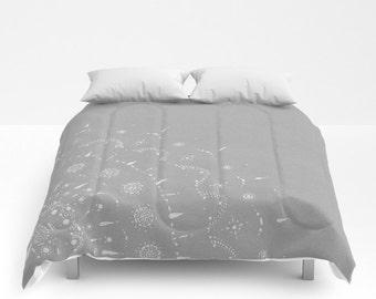 Light Grey Comforter, grey comforter, gray comforter, light gray comforter, mandala comforter, bohemian comforter, boho comforter