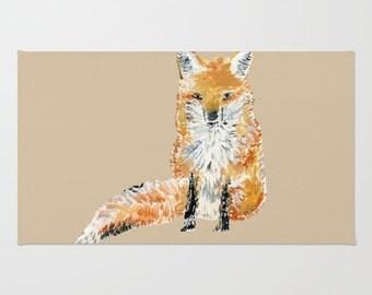 Fox Area Rug Woodland Rug Brown Area Rug Fox Nursery Fox Home