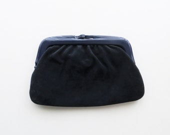 80s Italian Suede Clutch Blue Leather Chic Evening Bag