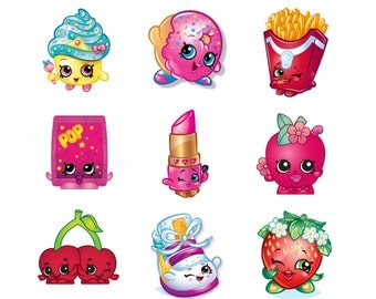 Shopkins cupcake toppers favor tags stickers digital download 2 inch images collage pdf instant printable